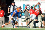 Georgia Bulldogs WR Malcolm Mitchell makes a diving catch but lands out of bounds during the first half, as the Gators spook the Georgia Bulldogs with a 27-3 win at EverBank Field.  October 31st, 2015. Gator Country photo by David Bowie.