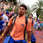 Florida Gators defensive back Vernon Hargreaves, III and the University of Florida Gators march into the stadium as Gator fans cheer them on during the first Gator Walk of the season.  September 5th, 2015.  Gator Country Photo by David Bowie.
