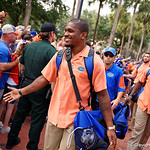 Florida Gators quarterback Treon Harris and the University of Florida Gators march into the stadium as Gator fans cheer them on during the first Gator Walk of the season.  September 5th, 2015.  Gator Country Photo by David Bowie.