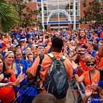 The University of Florida Gators march into the stadium as Gator fans cheer them on during the first Gator Walk of the season.  September 5th, 2015.  Gator Country Photo by David Bowie.