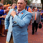 Florida Gators defensive coordinator Geoff Collins and the University of Florida Gators march into the stadium as Gator fans cheer them on during the first Gator Walk of the season.  September 5th, 2015.  Gator Country Photo by David Bowie.
