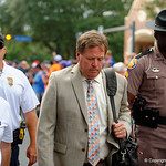 Florida Gators head coach Jim McElwain and the University of Florida Gators march into the stadium as Gator fans cheer them on during the first Gator Walk of the season.  September 5th, 2015.  Gator Country Photo by David Bowie.