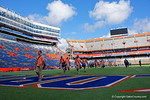 The Florida Gators march across Ben Hill Griffin Stadium and into the locker room for their Homecoming Game versus the Vanderbilt Commodores.  November 7th, 2015. Gator Country photo by David Bowie.