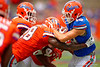 The Florida Gators scrimmage during the 2015 Orange and Blue Debut.  2015 Orange and Blue Debut.  April 11th 2015. Gator Country photo by David Bowie.
