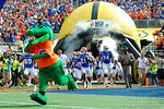 Albert leads the Gators as the Florida Gators take the field to square off against the Michigan Wolverines in the 2016 Buffalo Wild Wings Citrus Bowl.  Orlando, Fl.  January 1st, 2015. Gator Country photo by David Bowie.