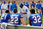 Florida Gators running backs coach Tim Skipper coaching up his running backs during the first half as the Univeristy of Florida Gators and the University of Michigan Wolverines square off in the 2016 Buffalo Wild Wings Citrus Bowl.  Orlando, Fl.  January 1st, 2015. Gator Country photo by David Bowie.