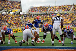 Florida Gators quarterback Treon Harris trying to distract the defense as the ball is snapped to Florida Gators running back Kelvin Taylor during the first half as the Univeristy of Florida Gators and the University of Michigan Wolverines square off in the 2016 Buffalo Wild Wings Citrus Bowl.  Orlando, Fl.  January 1st, 2015. Gator Country photo by David Bowie.