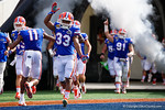 Florida Gators running back Tyriek Hopkins gator chomps as the Florida Gators take the field to square off against the Michigan Wolverines in the 2016 Buffalo Wild Wings Citrus Bowl.  Orlando, Fl.  January 1st, 2015. Gator Country photo by David Bowie.