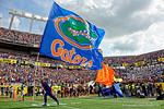 The Florida Gators team flag flies high as the Florida Gators take the field to square off against the Michigan Wolverines in the 2016 Buffalo Wild Wings Citrus Bowl.  Orlando, Fl.  January 1st, 2015. Gator Country photo by David Bowie.