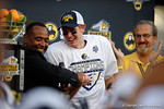 Michigan quarterback Jake Rudock smiling as he is named the MVP as the Michigan Wolverines celebrate their 41-7 victory over the Florida Gators in the 2016 Buffalo Wild Wings Citrus Bowl.  Orlando, Fl.  January 1st, 2015. Gator Country photo by David Bowie.
