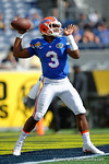Florida Gators quarterback Treon Harris during pre-game warm ups as the Univeristy of Florida Gators and the University of Michigan Wolverines square off in the 2016 Buffalo Wild Wings Citrus Bowl.  Orlando, Fl.  January 1st, 2015. Gator Country photo by David Bowie.