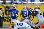 Florida Gators quarterback Treon Harris throws downfield during the first half as the Univeristy of Florida Gators and the University of Michigan Wolverines square off in the 2016 Buffalo Wild Wings Citrus Bowl.  Orlando, Fl.  January 1st, 2015. Gator Country photo by David Bowie.