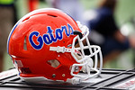 A Florida Gators helmet during the first half as the Univeristy of Florida Gators and the University of Michigan Wolverines square off in the 2016 Buffalo Wild Wings Citrus Bowl.  Orlando, Fl.  January 1st, 2015. Gator Country photo by David Bowie.