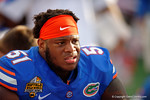 Florida Gators offensive line Antonio Riles during the second half as the Univeristy of Florida Gators and the University of Michigan Wolverines square off in the 2016 Buffalo Wild Wings Citrus Bowl.  Orlando, Fl.  January 1st, 2015. Gator Country photo by David Bowie.