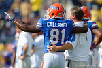 Florida Gators head coach Jim McElwain and Florida Gators wide receiver Antonio Callaway arm in arm during pre-game warm ups as the Univeristy of Florida Gators and the University of Michigan Wolverines square off in the 2016 Buffalo Wild Wings Citrus Bowl.  Orlando, Fl.  January 1st, 2015. Gator Country photo by David Bowie.