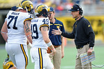 Michigan head coach Jim Harbough during the second half as the Univeristy of Florida Gators and the University of Michigan Wolverines square off in the 2016 Buffalo Wild Wings Citrus Bowl.  Orlando, Fl.  January 1st, 2015. Gator Country photo by David Bowie.