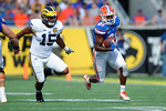 Florida Gators wide receiver Antonio Callaway takes off upfield during the first half as the Univeristy of Florida Gators and the University of Michigan Wolverines square off in the 2016 Buffalo Wild Wings Citrus Bowl.  Orlando, Fl.  January 1st, 2015. Gator Country photo by David Bowie.