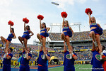The Florida Gator cheerleaders cheer on for the fans during pre-game warm ups as the Univeristy of Florida Gators and the University of Michigan Wolverines square off in the 2016 Buffalo Wild Wings Citrus Bowl.  Orlando, Fl.  January 1st, 2015. Gator Country photo by David Bowie.