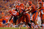 Florida Gators defensive lineman Bryan Cox, Jr. is tackled by Florida Gators linebacker Antonio Morrison as they celebrate a fumble recovery by Cox in the first half, as the Gators knock off the #3 ranked Ole Miss Rebels 38-10 at home.  Florida Gators vs Ole Miss Rebels.  October 3rd, 2015. Gator Country photo by David Bowie.