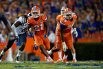 Florida Gators running back Kelvin Taylor has a big hole to run through in the first half, as the Gators knock off the #3 ranked Ole Miss Rebels 38-10 at home.  Florida Gators vs Ole Miss Rebels.  October 3rd, 2015. Gator Country photo by David Bowie.