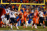 Florida Gators quarterback Will Grier throws deep downfield in the first half, as the Gators knock off the #3 ranked Ole Miss Rebels 38-10 at home.  Florida Gators vs Ole Miss Rebels.  October 3rd, 2015. Gator Country photo by David Bowie.