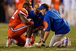 Florida Gator trainers check on Florida Gators defensive back Keanu Neal during the second half, as the Gators knock off the #3 ranked Ole Miss Rebels 38-10 at home.  Florida Gators vs Ole Miss Rebels.  October 3rd, 2015. Gator Country photo by David Bowie.