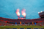 Fireworks light up the night as the Florida Gators take the field for their game against the #3 ranked Ole Miss Rebels.  Florida Gators vs Ole Miss Rebels.  October 3rd, 2015. Gator Country photo by David Bowie.