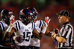 Ole Miss Rebels defensive back Kendarius Webster pleads with a referee after what many thought was a late hit in the first half, as the Gators knock off the #3 ranked Ole Miss Rebels 38-10 at home.  Florida Gators vs Ole Miss Rebels.  October 3rd, 2015. Gator Country photo by David Bowie.