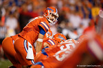Florida Gators quarterback Will Grier gets set during the second half, as the Gators knock off the #3 ranked Ole Miss Rebels 38-10 at home.  Florida Gators vs Ole Miss Rebels.  October 3rd, 2015. Gator Country photo by David Bowie.