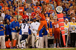Florida Gators wide receiver Demarcus Robinson goes up for a one-handed catch during the first half, as the Gators knock off the #3 ranked Ole Miss Rebels 38-10 at home.  Florida Gators vs Ole Miss Rebels.  October 3rd, 2015. Gator Country photo by David Bowie.