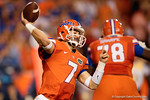 Florida Gators quarterback Will Grier throwing downfield in the second half, as the Gators knock off the #3 ranked Ole Miss Rebels 38-10 at home.  Florida Gators vs Ole Miss Rebels.  October 3rd, 2015. Gator Country photo by David Bowie.