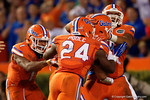The Florida Gators defense cekebrates another fumble recovery in the second half, as the Gators knock off the #3 ranked Ole Miss Rebels 38-10 at home.  Florida Gators vs Ole Miss Rebels.  October 3rd, 2015. Gator Country photo by David Bowie.