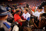 Florida Gators head coach Jim McElwain shakes hands with Ole Miss head coach Hugh Freeze as the Gators knock off the #3 ranked Ole Miss Rebels 38-10 at home.  Florida Gators vs Ole Miss Rebels.  October 3rd, 2015. Gator Country photo by David Bowie.