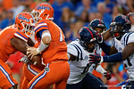 Florida Gators quarterback Will Grier is sacked by Ole Miss defensive end Channing Ward during the first quarter, as the Gators knock off the #3 ranked Ole Miss Rebels 38-10 at home.  Florida Gators vs Ole Miss Rebels.  October 3rd, 2015. Gator Country photo by David Bowie.