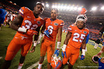 Florida Gators Jordan Cronkrite, Quincey Wilson and Jordan Scarlett pose for the camera as the Gators knock off the #3 ranked Ole Miss Rebels 38-10 at home.  Florida Gators vs Ole Miss Rebels.  October 3rd, 2015. Gator Country photo by David Bowie.