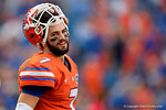Florida Gators quarterback Will Grier flashes a smile during pregame as the Gators knock off the #3 ranked Ole Miss Rebels 38-10 at home.  Florida Gators vs Ole Miss Rebels.  October 3rd, 2015. Gator Country photo by David Bowie.