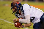 Ole Miss Rebels quarterback Chad Kelly jumps on a loose ball during the first half, as the Gators knock off the #3 ranked Ole Miss Rebels 38-10 at home.  Florida Gators vs Ole Miss Rebels.  October 3rd, 2015. Gator Country photo by David Bowie.
