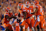 Florida Gators defensive lineman Bryan Cox, Jr. and the Gators celebrate a fumble recovery in the first half, as the Gators knock off the #3 ranked Ole Miss Rebels 38-10 at home.  Florida Gators vs Ole Miss Rebels.  October 3rd, 2015. Gator Country photo by David Bowie.