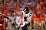 Ole Miss Rebels quarterback Chad Kelly throws downfield in the second half, as the Gators knock off the #3 ranked Ole Miss Rebels 38-10 at home.  Florida Gators vs Ole Miss Rebels.  October 3rd, 2015. Gator Country photo by David Bowie.