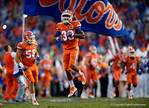Florida Gators running back Tyriek Hopkins sprints onto the field, as the Gators knock off the #3 ranked Ole Miss Rebels 38-10 at home.  Florida Gators vs Ole Miss Rebels.  October 3rd, 2015. Gator Country photo by David Bowie.