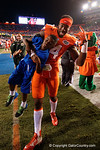 Florida Gators defensive end Alex McCalister celebrates the win over the #3 ranked Ole Miss Rebels 38-10 at home.  Florida Gators vs Ole Miss Rebels.  October 3rd, 2015. Gator Country photo by David Bowie.