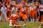 Florida Gators kicker Jorge Powell kicks in a field goal in the second half, as the Gators knock off the #3 ranked Ole Miss Rebels 38-10 at home.  Florida Gators vs Ole Miss Rebels.  October 3rd, 2015. Gator Country photo by David Bowie.