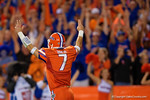 Florida Gators quarterback Will Grier signals touchdown in the second half, as the Gators knock off the #3 ranked Ole Miss Rebels 38-10 at home.  Florida Gators vs Ole Miss Rebels.  October 3rd, 2015. Gator Country photo by David Bowie.
