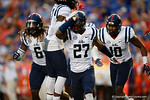 Ole Miss defensive end Marquis Haynes celebrates after a three and out by the Gators to start the game, as the Gators knock off the #3 ranked Ole Miss Rebels 38-10 at home.  Florida Gators vs Ole Miss Rebels.  October 3rd, 2015. Gator Country photo by David Bowie.
