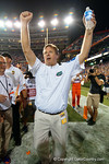 Florida Gators head coach Jim McElwain celebrates the win over the #3 ranked Ole Miss Rebels 38-10 at home.  Florida Gators vs Ole Miss Rebels.  October 3rd, 2015. Gator Country photo by David Bowie.