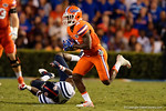 Florida Gators running back Brandon Powell breaks free and races into the endzone to put the Gators up 19-0, as the Gators knock off the #3 ranked Ole Miss Rebels 38-10 at home.  Florida Gators vs Ole Miss Rebels.  October 3rd, 2015. Gator Country photo by David Bowie.