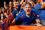 Florida Gator fans cheer on their team as the Gators knock off the #3 ranked Ole Miss Rebels 38-10 at home.  Florida Gators vs Ole Miss Rebels.  October 3rd, 2015. Gator Country photo by David Bowie.