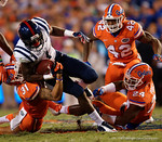 Florida Gators defensive back Jalen Tabor tackles Ole Miss wide receiver Laquon Treadwell in the first half, as the Gators knock off the #3 ranked Ole Miss Rebels 38-10 at home.  Florida Gators vs Ole Miss Rebels.  October 3rd, 2015. Gator Country photo by David Bowie.