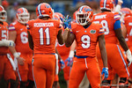 Florida Gators wide receivers Latroy Pittman (9) and Demarcus Robinson (11)  during pregame as the Gators knock off the #3 ranked Ole Miss Rebels 38-10 at home.  Florida Gators vs Ole Miss Rebels.  October 3rd, 2015. Gator Country photo by David Bowie.