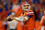 Florida Gators quarterback Will Grier throwing during the first half, as the Gators knock off the #3 ranked Ole Miss Rebels 38-10 at home.  Florida Gators vs Ole Miss Rebels.  October 3rd, 2015. Gator Country photo by David Bowie.
